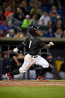 Quad Cities River Bandits shortstop Marcos Almonte (1) follows through on a swing during a game against the Lake County Captains on May 6, 2017 at Modern Woodmen Park in Davenport, Iowa.  Lake County defeated Quad Cities 13-3.  (Mike Janes/Four Seam Images)