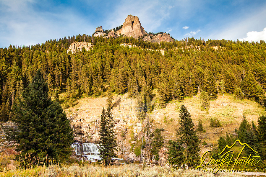 The Open Door and Granite Falls up Granite Canyon south of Jackson Hole, Wyoming.  The Open Door is the name of the peak.