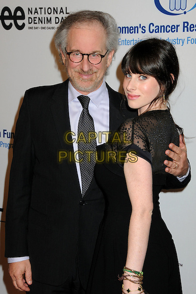 STEVEN SPIELBERG & SASHA SPIELBERG.EIF's Women's Cancer Research Fund Benefit held at the Beverly Wilshire Hotel, Beverly Hills, California, USA..January 27th, 2010.half length suit jacket dress sheer looking over shoulder hand on back father dad daughter family black purple glasses beard facial hair .CAP/ADM/BP.©Byron Purvis/AdMedia/Capital Pictures.