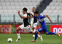 Calcio, Serie A: Juventus - Sampdoria, Turin, Allianz Stadium, July 26, 2020.<br /> Juventus' Paulo Dybala (l) in action with Sampdoria's Fabio Depaoli (r) during the Italian Serie A football match between Juventus and - Sampdoria at the Allianz stadium in Turin, July 26, 2020.<br /> UPDATE IMAGES PRESS/Isabella Bonotto