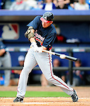 2 March 2010: Atlanta Braves outfielder Cody Johnson in action against the New York Mets during the Opening Day of Grapefruit League play at Tradition Field in Port St. Lucie, Florida. The Mets defeated the Braves 4-2 in Spring Training action. Mandatory Credit: Ed Wolfstein Photo