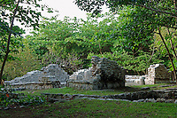 South Comlex, San Miguelito archaeological site adjacent to the new Museo Maya de Cancun museum, Cancun, Mexico      .