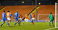 The ball comes off Portsmouth's Oliver Hawkins giving Blackpool an equaliser<br /> <br /> Photographer Alex Dodd/CameraSport<br /> <br /> The EFL Sky Bet League One - Blackpool v Portsmouth - Saturday 11th November 2017 - Bloomfield Road - Blackpool<br /> <br /> World Copyright &copy; 2017 CameraSport. All rights reserved. 43 Linden Ave. Countesthorpe. Leicester. England. LE8 5PG - Tel: +44 (0) 116 277 4147 - admin@camerasport.com - www.camerasport.com