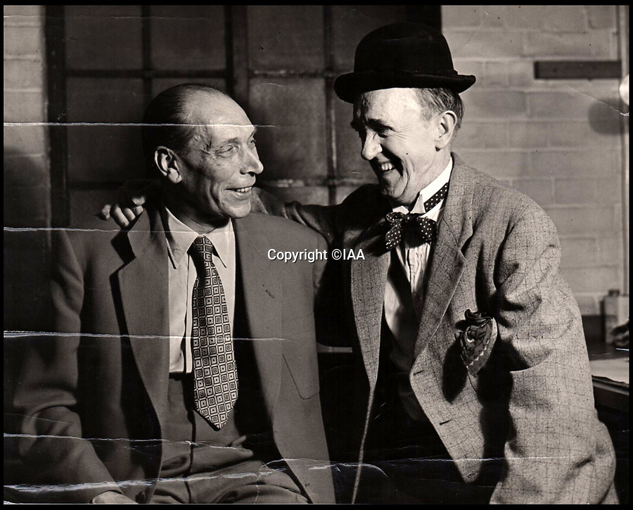 BNPS.co.uk (01202 558833)<br /> Pic: IAA/BNPS<br /> <br /> Stan and Ted Desmond reunited on a visit Ted made to America.<br />  <br /> Heart-warming letters and photos Stan Laurel sent his first comedy sidekick who he stayed friends with after forming his iconic double-act with Oliver Hardy have emerged.<br /> <br /> Ted Desmond and Laurel, known then by his real name Stan Jefferson, briefly worked together on tour in Netherlands and Belgium in 1912 but they parted ways when Laurel was offered a spot in an American touring troupe.<br /> <br /> It would have been easy for Laurel to forget his first, short-lived sidekick, or for Ted to have been jealous of his success with another comic.<br /> <br /> But, touchingly, they remained firm friends and Laurel sent Ted and his wife Gertrude various letters and photos over the next 40 years.