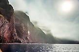 GALAPAGOS ISLANDS, ECUADOR, Isabela Island, Punta Vicente Roca, view of the dramatic steep volcanic cliffs at Isabela Island
