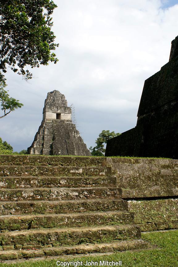Temple I or Temple of the Grand Jaguar, Maya ruins of Tikal, El Peten, Guatemala. Tikal is a UNESCO World Heritage Site....