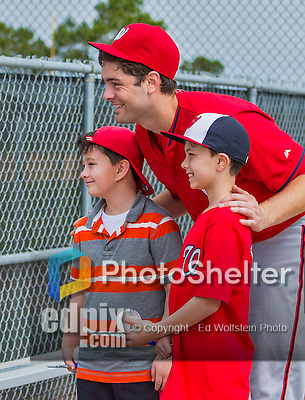 6 March 2015: Washington Nationals pitcher and Baseball America top prospect Lucas Giolito poses for a photograph with fans during Spring Training at the Carl Barger Baseball Complex in Viera, Florida. Mandatory Credit: Ed Wolfstein Photo *** RAW (NEF) Image File Available ***