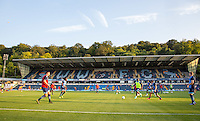General view as the team warm up during the Sky Bet League 2 match between Wycombe Wanderers and Accrington Stanley at Adams Park, High Wycombe, England on 16 August 2016. Photo by Andy Rowland.