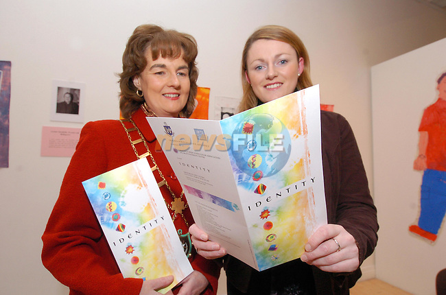 """Mayor Marie O'Brien Campbell and Rosemarie Collier Arts Officer Borough Council at the launch of """"IDENTITY"""" in the Arts Centre.Photo Fran Caffrey Newsfile.ie..This Picture has been sent to you by Newsfile Ltd..The Studio,.Millmount Abbey,.Drogheda,.Co. Meath,.Ireland..Tel: +353(0)41-9871240.Fax: +353(0)41-9871260.ISDN: +353(0)41-9871010.www.newsfile.ie..general email: pictures@newsfile.ie"""