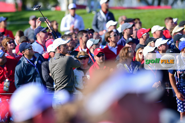 Justin Rose (GBR) watches his tee shot on 9 during the Saturday morning foursomes at the Ryder Cup, Hazeltine National Golf Club, Chaska, Minnesota, USA.  10/1/2016<br /> Picture: Golffile | Ken Murray<br /> <br /> <br /> All photo usage must carry mandatory copyright credit (&copy; Golffile | Ken Murray)