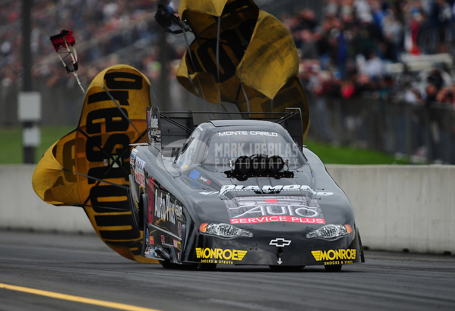 Oct. 1, 2011; Mohnton, PA, USA: NHRA funny car driver Blake Alexander during qualifying for the Auto Plus Nationals at Maple Grove Raceway. Mandatory Credit: Mark J. Rebilas-