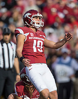 Hawgs Illustrated/BEN GOFF <br /> Connor Limpert kicks an extra point in the first quarter Friday, Nov. 24, 2017, at Reynolds Razorback Stadium in Fayetteville.