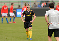 20180410 - FERRARA , ITALY : Belgian Davinia Vanmechelen pictured during warming up ahead of the female soccer game between Italy and the Belgian Red Flames , the fifth game in the qualificaton for the World Championship qualification round in group 6 for France 2019, Tuesday 10 th April 2018 at Stadio Paolo Mazza / Stadio Comunale in Ferrara , Italy . PHOTO SPORTPIX.BE | DAVID CATRY