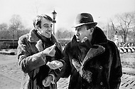 Manhattan, New York City, USA. February 16th 1968. French comedian Fernandel and his son Franck wearing fur coats in New York's Central Park the day after his performance at Carnegie Hall.