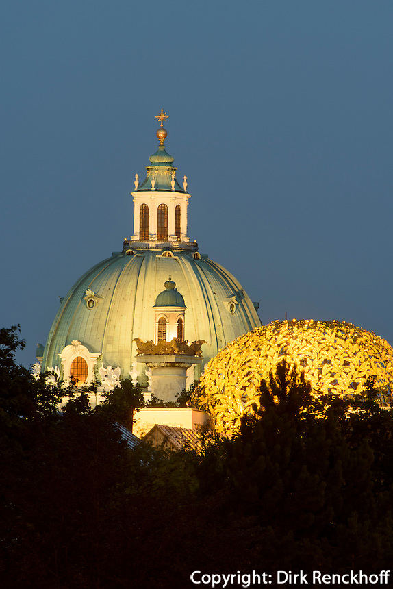 Kuppel der Karlskirche und des Secession Geb&auml;udes, Wien, &Ouml;sterreich, UNESCO-Weltkulturerbe<br /> Dome of  of Charles church and of Secession-building, Vienna, Austria, world heritage