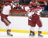 Patrick McNally (Harvard - 8), Rence Coassin (Harvard - 17), Ryan Grimshaw (Harvard - 6) - The Harvard University Crimson defeated the visiting Colgate University Raiders 4-2 on Saturday, November 12, 2011, at Bright Hockey Center in Cambridge, Massachusetts.