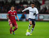 Preston North End's Callum Robinson under pressure from Accrington Stanley's Scott Brown<br /> <br /> Photographer Kevin Barnes/CameraSport<br /> <br /> The Carabao Cup - Accrington Stanley v Preston North End - Tuesday 8th August 2017 - Crown Ground - Accrington<br />  <br /> World Copyright &copy; 2017 CameraSport. All rights reserved. 43 Linden Ave. Countesthorpe. Leicester. England. LE8 5PG - Tel: +44 (0) 116 277 4147 - admin@camerasport.com - www.camerasport.com
