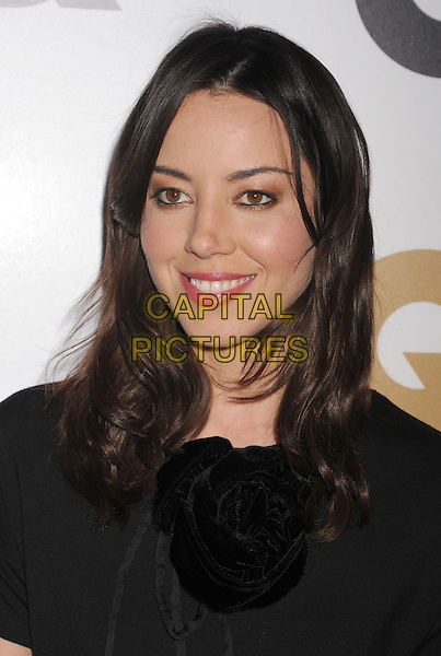 Aubrey Plaza.Arriving at the GQ Men Of The Year Party at Chateau Marmont Hotel in Los Angeles, California, USA..November 13th, 2012.headshot portrait black corsage.CAP/ROT/TM.©Tony Michaels/Roth Stock/Capital Pictures