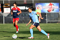 Piscataway, NJ, April 24, 2016.  Sky Blue midfielder, Taylor Lytle (6) dribbles the ball across the field.  The Washington Spirit defeated Sky Blue FC 2-1 during a National Women's Soccer League (NWSL) match at Yurcak Field.
