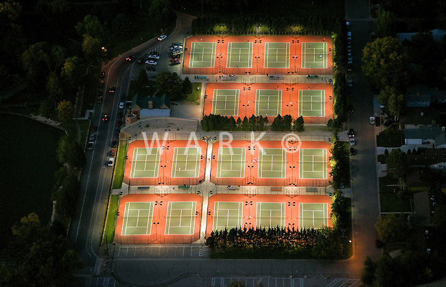 Tennis courts lit at night