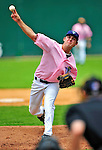 """18 July 2010: Vermont Lake Monsters pitcher Matt Swynenberg on the mound against the Staten Island Yankees at Centennial Field in Burlington, Vermont. The Lake Monsters, dressed in their Breast Cancer Awareness """"Pinks"""", fell to the Yankees 9-5 in NY Penn League action. Mandatory Credit: Ed Wolfstein Photo"""