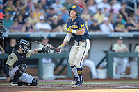 Michigan Wolverines designated hitter Riley Bertram (12) draws a walk against the Vanderbilt Commodores during Game 3 of the NCAA College World Series Finals on June 26, 2019 at TD Ameritrade Park in Omaha, Nebraska. Vanderbilt defeated Michigan 8-2 to win the National Championship. (Andrew Woolley/Four Seam Images)