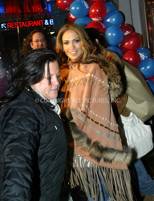 WWW.ACEPIXS.COM . . . . .  ....NEW YORK, MARCH 1, 2005....Jennifer Lopez entering the Virgin Megastore in Times Square to sign copies of her new album 'Rebirth.'....Please byline: Ian Wingfield - ACE PICTURES..... *** ***..Ace Pictures, Inc:  ..Philip Vaughan (646) 769-0430..e-mail: info@acepixs.com..web: http://www.acepixs.com