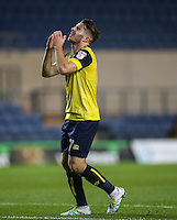 Dan Crowley of Oxford United shows his frustration during the The Checkatrade Trophy match between Oxford United and Exeter City at the Kassam Stadium, Oxford, England on 30 August 2016. Photo by Andy Rowland / PRiME Media Images.