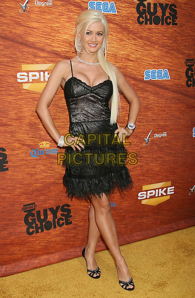 "HOLLY MADISON.2008 Spike TV's ""Guys Choice"" Awards held at Sony Studios, Los Angeles, California, USA..May 30th, 2008.full length dress hands on hips black necklace silver feathers feathered long hair extensions .CAP/ADM/MJ.©Michael Jade/AdMedia/Capital Pictures."