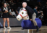 25 February 2016: Wake Forest fans race inflatable horses down the court during a timeout. The Wake Forest University Demon Deacons hosted the Virginia Tech Hokies at Lawrence Joel Veterans Memorial Coliseum in Winston-Salem, North Carolina in a 2015-16 NCAA Division I Women's Basketball game. Virginia Tech won the game 54-48.