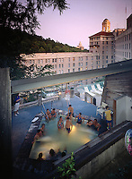 Guests at the venerable Arlington Hotel in Hot Springs, AR, enjoy one of the hotel's thermal pools. Hot Springs, Arkansas.