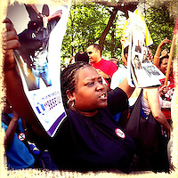 A woman shouts slogans against the police when She takes part in a march protesting against the Stop-and-Frisk polices in New York  Photo by Eduardo Munoz Alvarez / VIEW..PICTURE TAKEN WITH A MOBILE DEVICE.