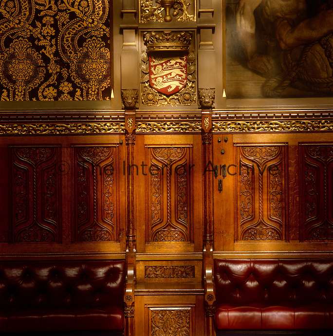 Detail of the benches and carved panelling which line the Royal Gallery