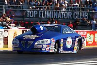 Sep 27, 2013; Madison, IL, USA; NHRA pro stock driver Kurt Johnson during qualifying for the Midwest Nationals at Gateway Motorsports Park. Mandatory Credit: Mark J. Rebilas-