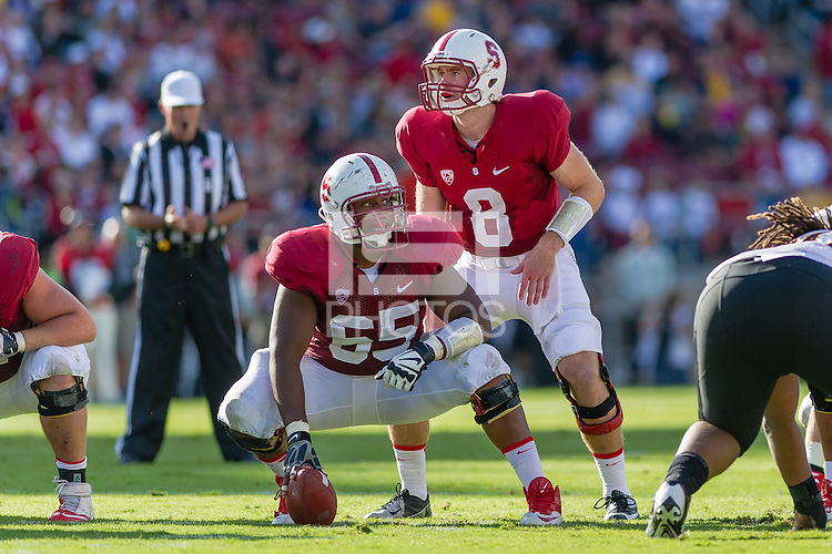 STANFORD, CA - SEPTEMBER 22, 2013: Khalil Wilkes and Kevin Hogan during Stanford's game against Arizona State. The Cardinal defeated the Sun Devils 42-28.