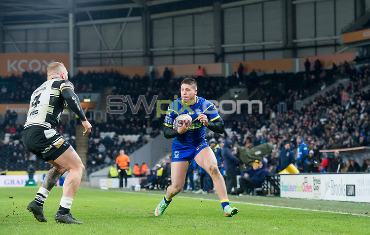 Picture by Allan McKenzie/SWpix.com - 02/03/2018 - Rugby League - Betfred Super League - Hull FC v Warrington Wolves - KC Stadium, Kingston upon Hull, England - Tom Lineham.