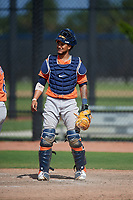 Houston Astros catcher Alejandro Flores (53) during a Minor League Spring Training Intrasquad game on March 28, 2019 at the FITTEAM Ballpark of the Palm Beaches in West Palm Beach, Florida.  (Mike Janes/Four Seam Images)