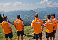 Austria, Kitzbuhel, Juli 15, 2015, Tennis, Davis Cup, Dutch team, On the way for a photoshoot to the top of the &quot;Hahnenkam&quot;  enjoying the view<br /> Photo: Tennisimages/Henk Koster