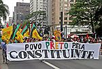 Passeata Dia da Consciencia Negra na avenida Paulista. Sao Paulo. 2014. Foto de Lineu Kohatsu.