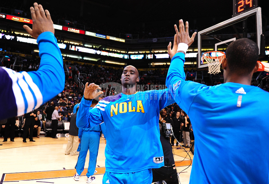 Dec. 26, 2011; Phoenix, AZ, USA; New Orleans Hornets center Emeka Okafor before game against the Phoenix Suns at the US Airways Center. The Hornets defeated the Suns 85-84. Mandatory Credit: Mark J. Rebilas-USA TODAY Sports