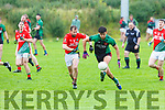 Fiachra Griffin Churchill takes on Johnny Lane St Michaels Foilmore during the Cahill Cup final in Currans on Saturday