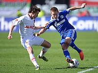 FUSSBALL   1. BUNDESLIGA  SAISON 2011/2012   32. Spieltag FC Augsburg - FC Schalke 04         22.04.2012 Paul Verhaegh (li, FC Augsburg) gegen Lewis Holtby (FC Schalke 04)