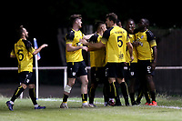 Kadell Daniel of Margate scores the second goal for his team and celebrates during Hornchurch vs Margate, BetVictor League Premier Division Football at Hornchurch Stadium on 13th August 2019