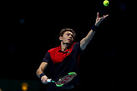 17th November 2019; 02 Arena. London, England; Nitto ATP Tennis Finals; Nicolas Mahut (FRA) serves in the final of the doubles match - Editorial Use