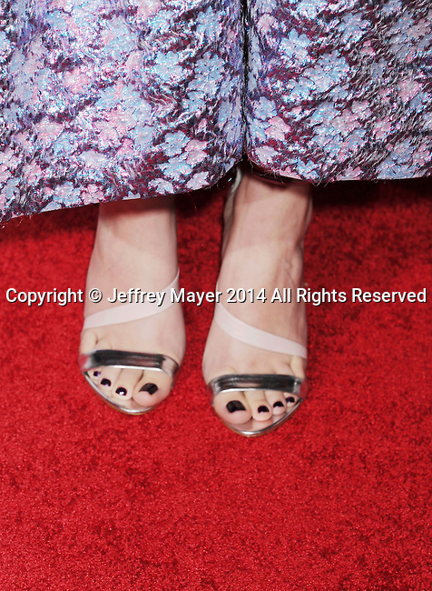 HOLLYWOOD, CA - NOVEMBER 11: Actress Hailee Steinfeld (shoe detail) at the 'The Homesman' premiere during AFI FEST 2014 presented by Audi at the Dolby Theater on November 11, 2014 in Hollywood, California.