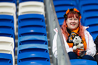 A Wolves fan ahead of the Sky Bet Championship match between Cardiff City and Wolverhampton Wanderers at the Cardiff City Stadium, Cardiff, Wales on 6 April 2018. Photo by Mark  Hawkins / PRiME Media Images.