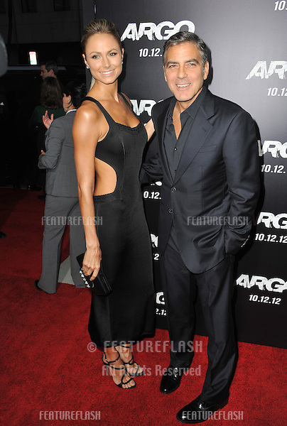 "George Clooney & Stacy Keibler at the Los Angeles premiere of ""Argo,"" which he produced, at the Samuel Goldwyn Theatre, Beverly Hills..October 4, 2012  Beverly Hills, CA.Picture: Paul Smith / Featureflash"