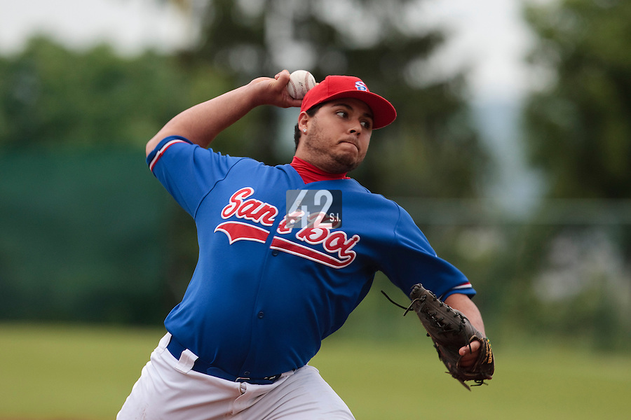 03 June 2010: Yaeko Vasquez of C.B. Sant Boi pitches against Rouen during the 2010 Baseball European Cup match won  8-4 by C.B. Sant Boi over the Rouen Huskies, at the Kravi Hora ballpark, in Brno, Czech Republic.