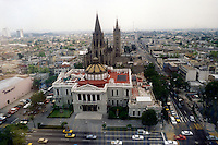The University of Guadalajara old administration building and Templo Expiatorio church from above, Guadalajara, Jalisco, Mexico