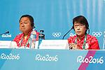 (L-R)  Yasuhiro Yamashita,  Seiko Hashimoto (JPN), <br /> AUGUST 21, 2016 : Seiko Hashimoto, Yasuhiro Yamashita, Yuji Takada attend a press conference at Main Press Center during the Rio 2016 Olympic Games in Rio de Janeiro, Brazil. <br /> (Photo by Sho Tamura/AFLO SPORT)